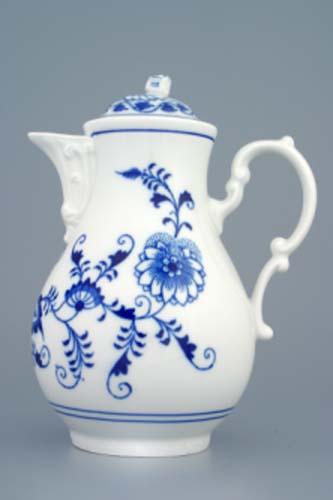 Cibulák Konvice kávová s víčkem 0,90 l originální cibulákový porcelán Dubí, cibulový vzor 1. jakost