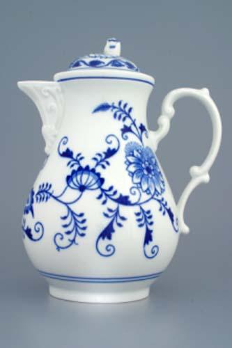 Cibulák Konvice kávová s víčkem 1,55 l originální cibulákový porcelán Dubí, cibulový vzor 1. jakost