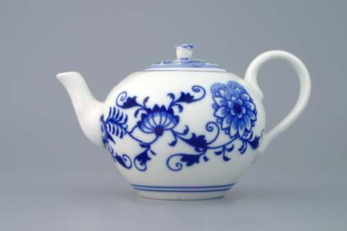 Cibulák konvice čajová víčkem 0,35 L originální cibulákový porcelán Dubí, cibulový vzor 1. jakost