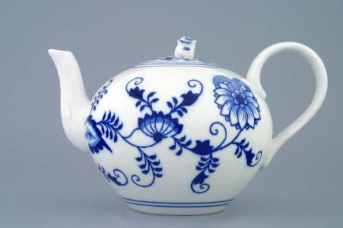 Cibulák konvice čajová s víčkem 1,2 l originální cibulákový porcelán Dubí, cibulový vzor 1. jakost 70029