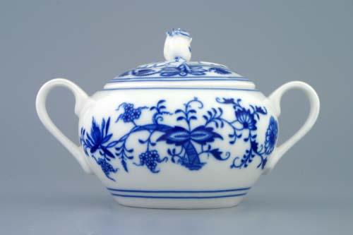 Cibulák Cukřenka s oušky s víčkem bez výřezu 0,30 l originální cibulákový porcelán Dubí, cibulový vzor 1. jakost