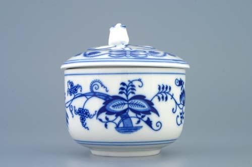 Cibulák cukřenka bez oušek s víčkem bez výřezu 0,20 l originální cibulákový porcelán Dubí, cibulový vzor 1. jakost