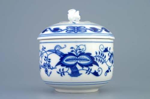 Cibulák cukřenka bez oušek s víčkem bez výřezu 0,30 l originální cibulákový porcelán Dubí, cibulový vzor 1. jakost