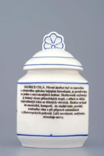 Cibulák Kořenka s víčkem a nápisem a receptem 50 druhů, 0,20 l originální cibulákový porcelán Dubí, cibulový vzor 1. jakost
