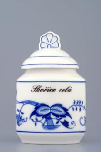 Cibulák Kořenka s víčkem a nápisem a receptem 50 druhů, 0,20 l originální cibulákový porcelán Dubí, cibulový vzor 1. jakost 70143-00015