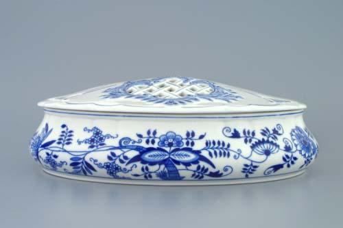 Cibulák Bonboniéra oválná na 1 kg s víkem 29 cm originální cibulákový porcelán Dubí, cibulový vzor, 1.jakost