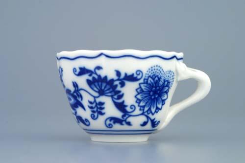 Cibulák šálek + podšálek A+A 0,08 l originální cibulákový porcelán Dubí, cibulový vzor 1.jakost