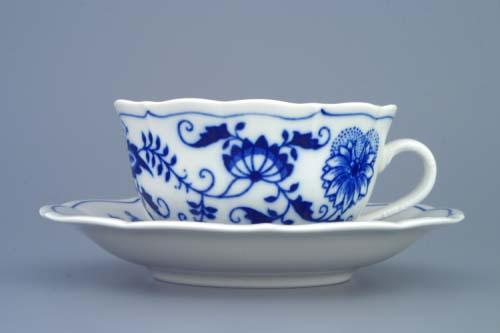Cibulák Šálek + podšálek C/1+ZC1 (zrcadlový podšálek) čajový 0,20 l originální cibulákový porcelán Dubí, cibulový vzor 1.jakost 70230