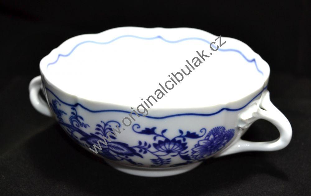 Cibulák šálek + podšálek bujón s 2 oušky 0,30 l originální cibulákový porcelán Dubí, cibulový vzor 1.jakost