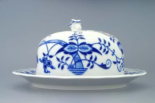 Cibulák Dóza na sýr kulatá komplet 19 cm originální cibulákový porcelán Dubí, cibulový vzor, 1.jakost