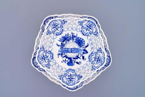 Cibulák Etažér 2-dílný mísy pětihranné prolamované porcelán tyčka 27 cm originální cibulákový porcelán Dubí, cibulový vzor, 1.jakost
