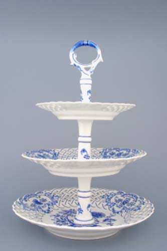Cibulák Etažér 3-dílný talíře prolamované, porcelánová tyčka 36 cm originální cibulákový porcelán Dubí, cibulový vzor, 1.jakost 70282