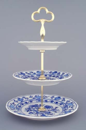 AKCE-50% Cibulákový etažér 3-dílný- talíře plné, zlacená tyčka 35 cm originální cibulákový porcelán Dubí, cibulový vzor, 1.jakost 70298
