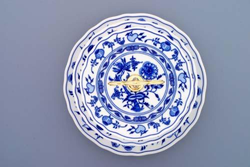 AKCE-50% Cibulákový etažér 3-dílný- talíře plné, zlacená tyčka 35 cm originální cibulákový porcelán Dubí, cibulový vzor, 1.jakost