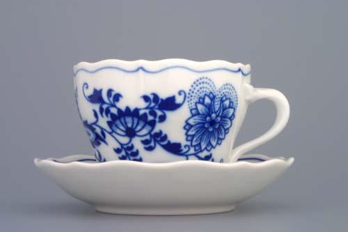 Cibulák šálek + podšálek A/2+A/1 0,17 l originální cibulákový porcelán Dubí, cibulový vzor, 1.jakost