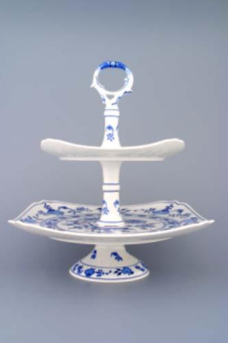 Cibulák Etažér 2-dílný talíře hranaté na noze nízký, porcelánová tyčka 30 cm originální cibulákový porcelán Dubí, cibulový vzor, 1.jakost 70353
