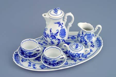 Akce - 20 % Cibuláková souprava kávová miniaturní 360 g originální cibulák, cibulový porcelán Dubí 1. jakost 70401