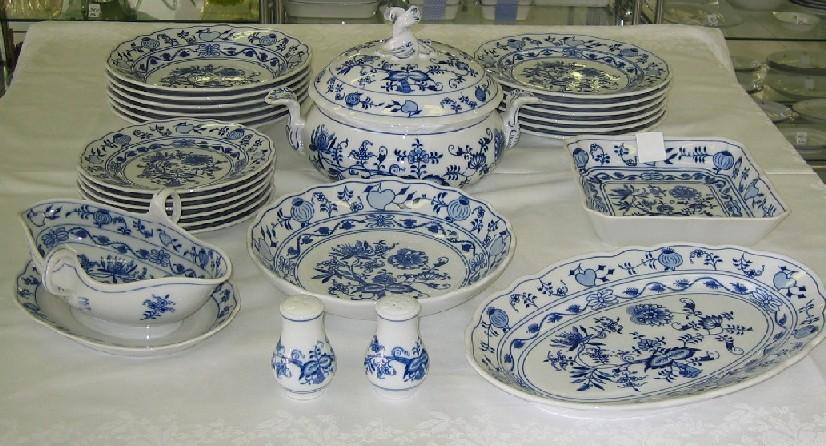Cibulák jídelní sada 25 ks, J1 - originální cibulák, cibulový porcelán Dubí 1. jakost 7501