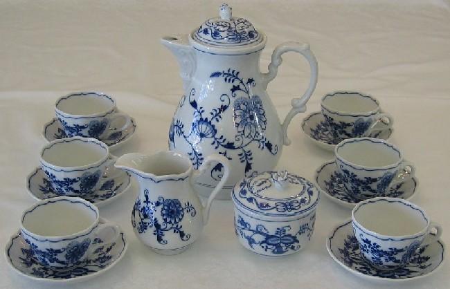 Cibuláková souprava kávová K1 - originální cibulák, cibulový porcelán Dubí 1.jakost 7504