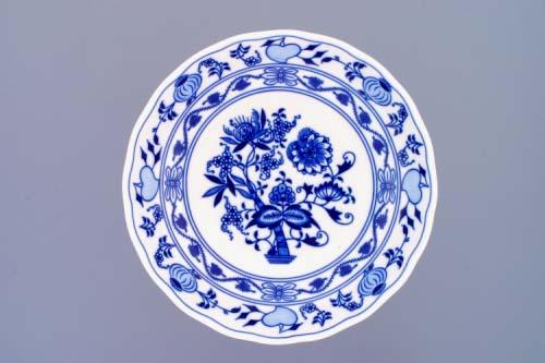 Cibulák Mísa kompotová oboustranná na ozdobné noze nízké 24 cm originální cibulákový porcelán Dubí, cibulový vzor, 1.jakost