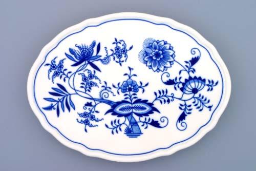 Cibulák Podnos oválový na třech nožkách 24,5 cm originální cibulákový porcelán Dubí, cibulový vzor 1. jakost