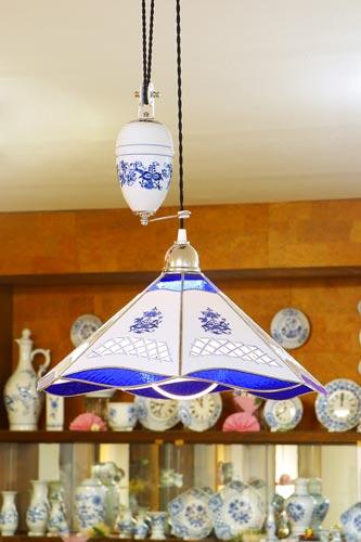Cibulák Lampa stahovací dekor cibulák 46 cm originální cibulákový porcelán Dubí, cibulový vzor 1. jakost