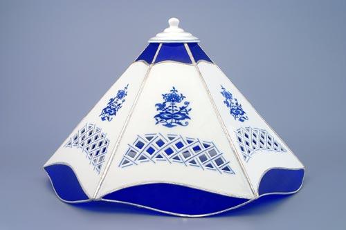 Cibulák Stínítko vitráž prolamované 6 stěn 35 cm originální cibulákový porcelán Dubí, cibulový vzor 1. jakost
