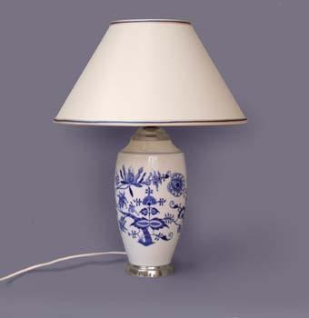Lampa cibulák se stínítkem hladkým 47 cm originální cibulákový porcelán Dubí
