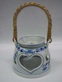Cibulák aroma lampička 10 cm originální cibulákový porcelán Dubí, cibulový vzor 1. jakost