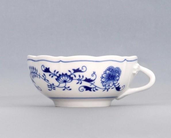Cibulák šálek + podšálek bujón s 1 ouškem 0,30 l originální cibulákový porcelán Dubí, cibulový vzor, 1.jakost