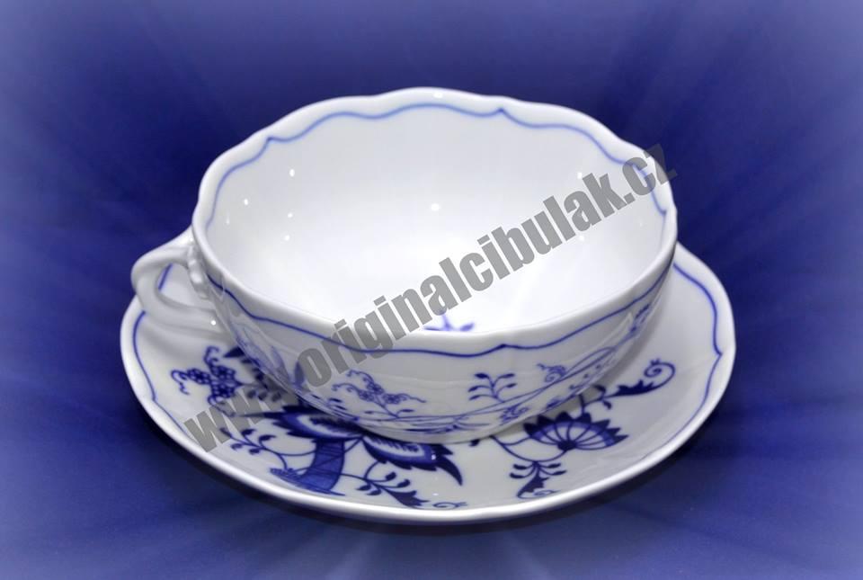 Cibulák šálek + podšálek bujón s 1 ouškem 0,30 l originální cibulákový porcelán Dubí, cibulový vzor, 1.jakost 70627
