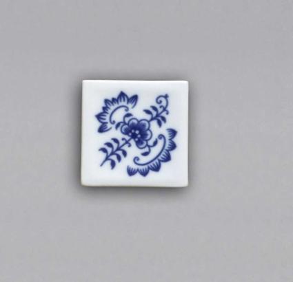 Cibulák Magnetka vitráž čtvereček 5 cm originální cibulákový porcelán Dubí, cibulový vzor, 1.jakost