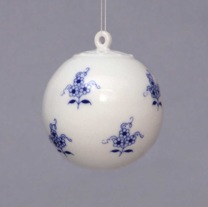 Cibulák Vánoční koulička 5,8 cm originální cibulákový porcelán Dubí, cibulový vzor 1. jakost 10635-68