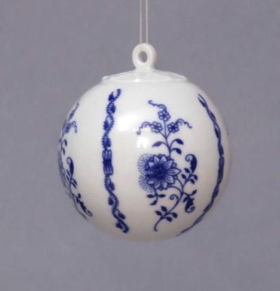 Cibulák Vánoční koulička 5,8 cm originální cibulákový porcelán Dubí, cibulový vzor 1. jakost 10635-67