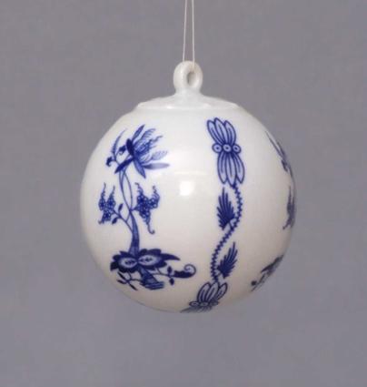 Cibulák Vánoční koulička 5,8 cm originální cibulákový porcelán Dubí, cibulový vzor 1. jakost 10635-66