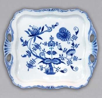 Cibulák podnos Aida čtvercový na noze 15 cm, originální cibulákový porcelán Dubí, cibulový vzor, 1.jakost