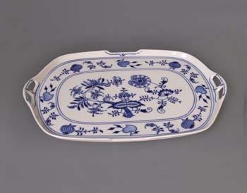 Cibulák podnos čtyřhranný s uchy 38 cm, originální cibulákový porcelán Dubí, cibulový vzor, 1.jakost 10044
