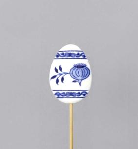Cibulák Velikonoční ozdoba vajíčko zápich 29cm, originální cibulákový porcelán Dubí, cibulový vzor, 1.jakost
