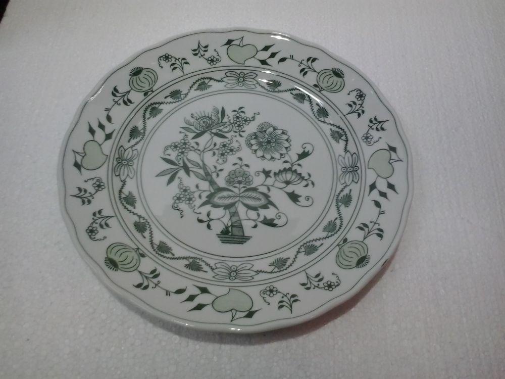 Talíř hluboký 24 cm - zelený - originální cibulák,cibulový porcelán Dubí 1.jakost