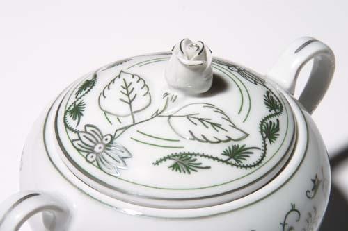 Cukřenka s oušky s víčkem bez výřezu 0,30 l originální cibulák zelený s patinou, cibulový porcelán Dubí 1.jakost