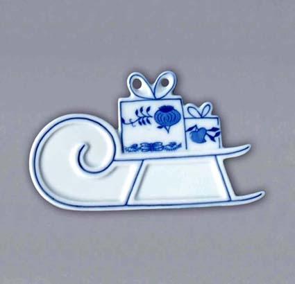 Cibulák vánoční ozdoba sáňky 9 cm originální cibulákový porcelán Dubí, cibulový vzor 1. jakost 10659
