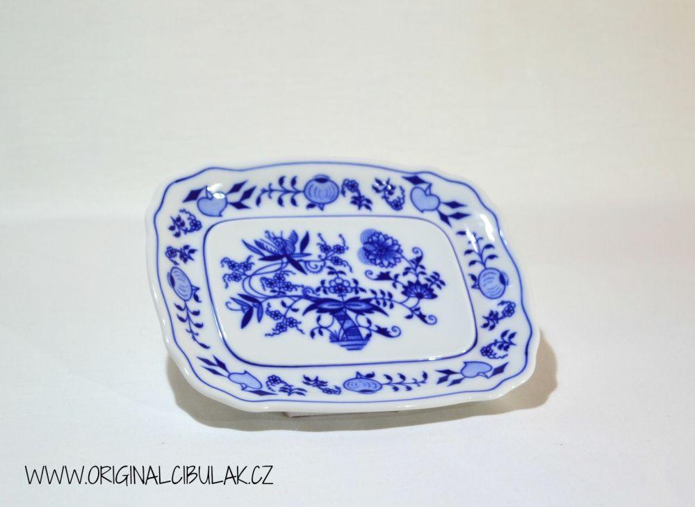 Cibulák máslenka hranatá malá komplet 17 cm originální cibulákový porcelán Dubí, cibulový vzor, 2.jakost