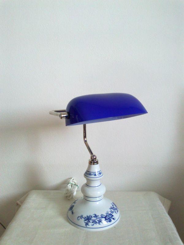 Lampa cibulák bankovní - originální porcelán Dubí - modrá