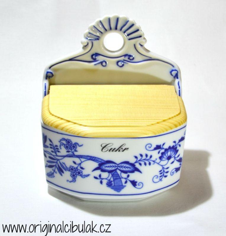 Cibulák slánka závěsná s dřevěným víčkem a s nápisem CUKR 0,70 l originální cibulákový porcelán Dubí, cibulový vzor 1 jakost