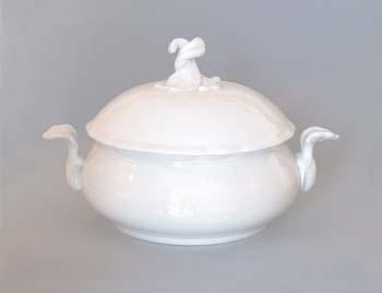 Mísa porcelán bílý zeleninová kulatá s víkem bez výřezu 2,0 l Český porcelán Dubí1. jakost 70081b