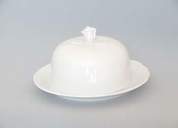 Dóza porcelán bílý na sýr kulatá komplet 19 cm Český porcelán Dubí 1.jakost