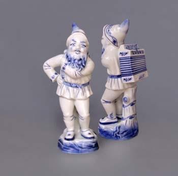 Cibulák trpaslík s harmonikou Lojza , 16 cm, originální cibulákový porcelán Dubí, cibulový vzor, 1.jakost