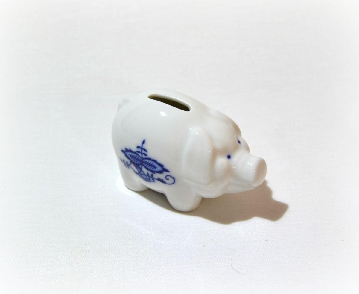 cibulák prasátko pokladnička Leander cibulákový porcelán 21118586