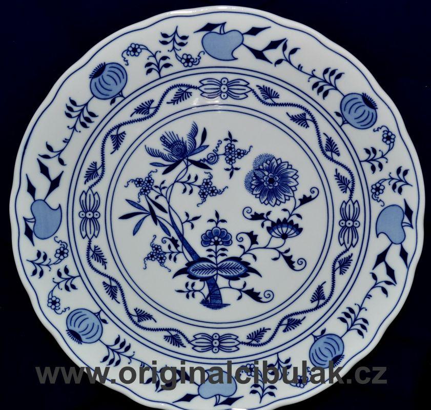 Cibulák talíř klubový Akce -50% 30 cm originální cibulákový porcelán Dubí, cibulový vzor, 1.jakost