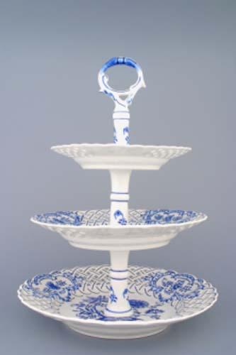 Cibulák Etažér 3-dílný talíře prolamované, porcelánová tyčka 36 cm originální cibulákový porcelán Dubí, cibulový vzor, 2.jakost 70282-2